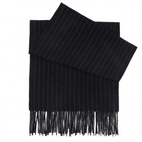 Navy Striped Wool Scarf - thumbnail image 1