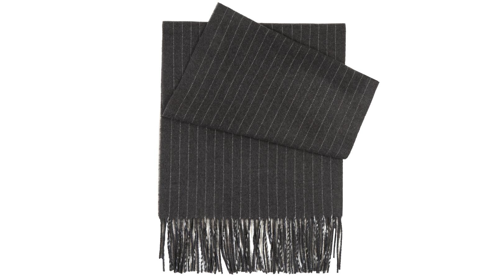 Dark Grey Striped Wool scarf - slider image