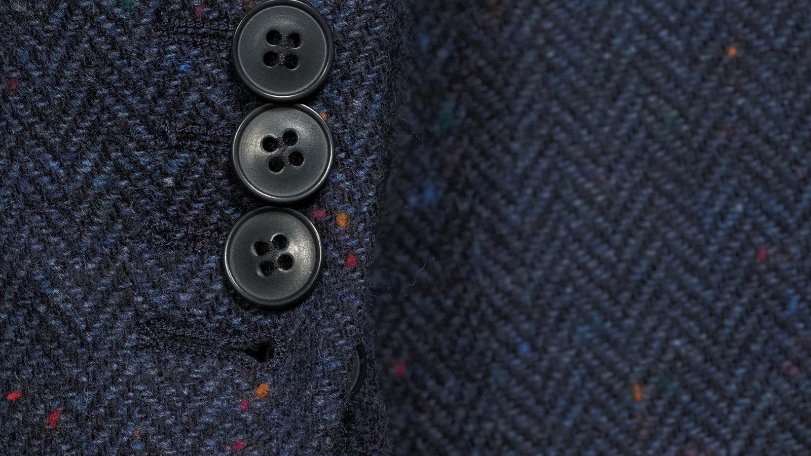 Navy Donegal Herringbone Tweed Blazer - slider image 1