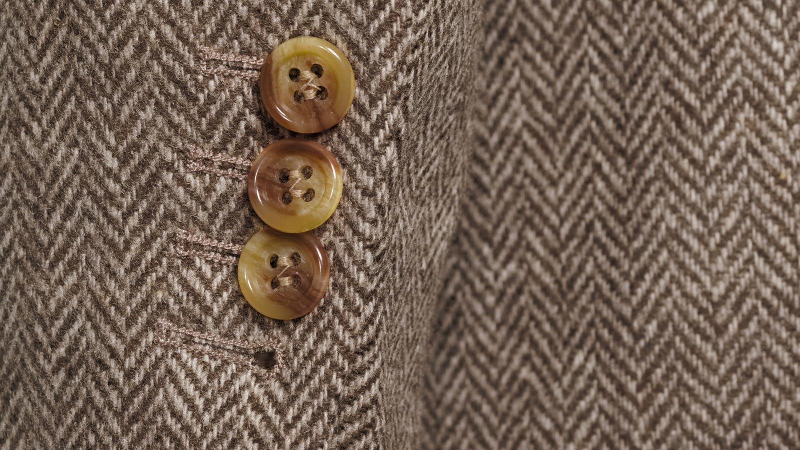 Brown Herringbone Natural Wool Tweed Blazer - slider image 1