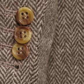 Brown Herringbone Natural Wool Tweed Blazer - thumbnail image 1