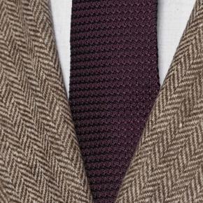 Brown Herringbone Natural Wool Tweed Blazer - thumbnail image 2