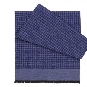 Blue Houndstooth Wool & Silk Scarf - thumbnail image 1