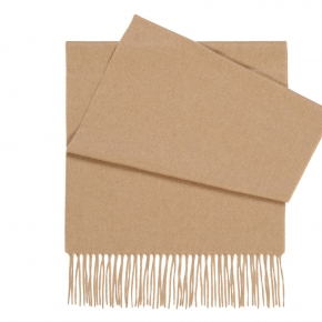 Solid Beige Cashmere Scarf - thumbnail image 1
