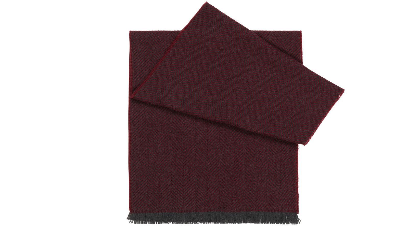 Burgundy Herringbone Wool Scarf - slider image