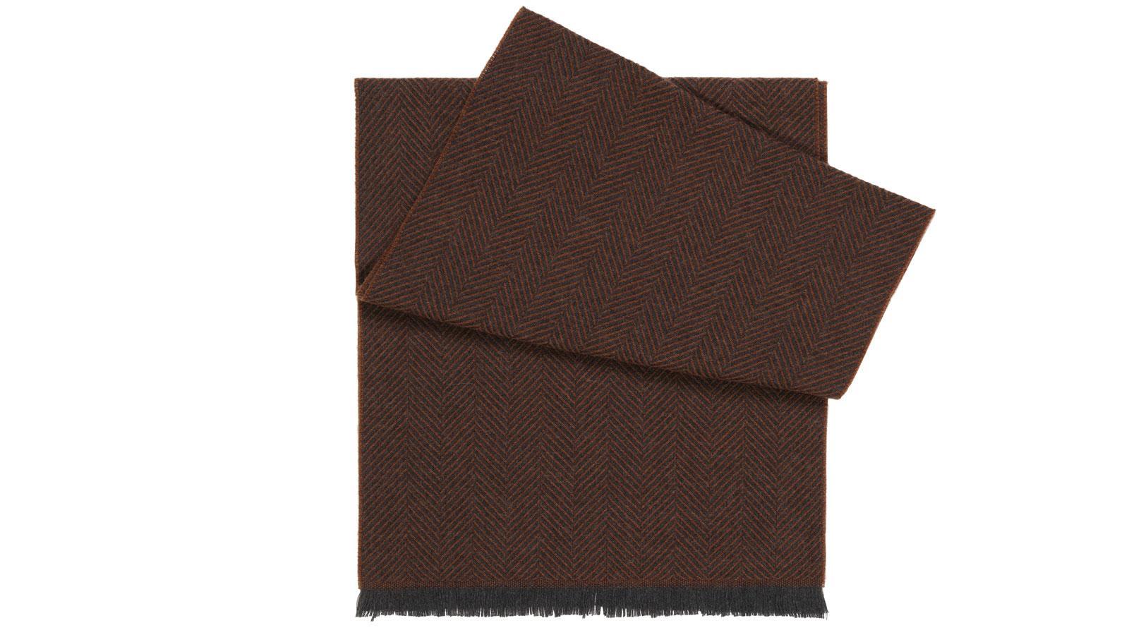 Tobacco Herringbone Wool Scarf  - slider image