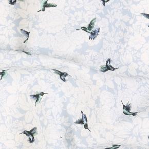 Birds Pattern Sky Blue Cotton Pocket Square - thumbnail image 1
