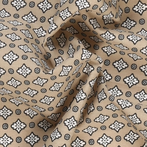 Taupe Patterned Cotton Pocket Square - thumbnail image 1