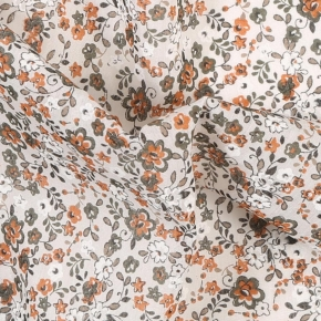 White, Green and Orange Floral Cotton Pocket Square - thumbnail image 1