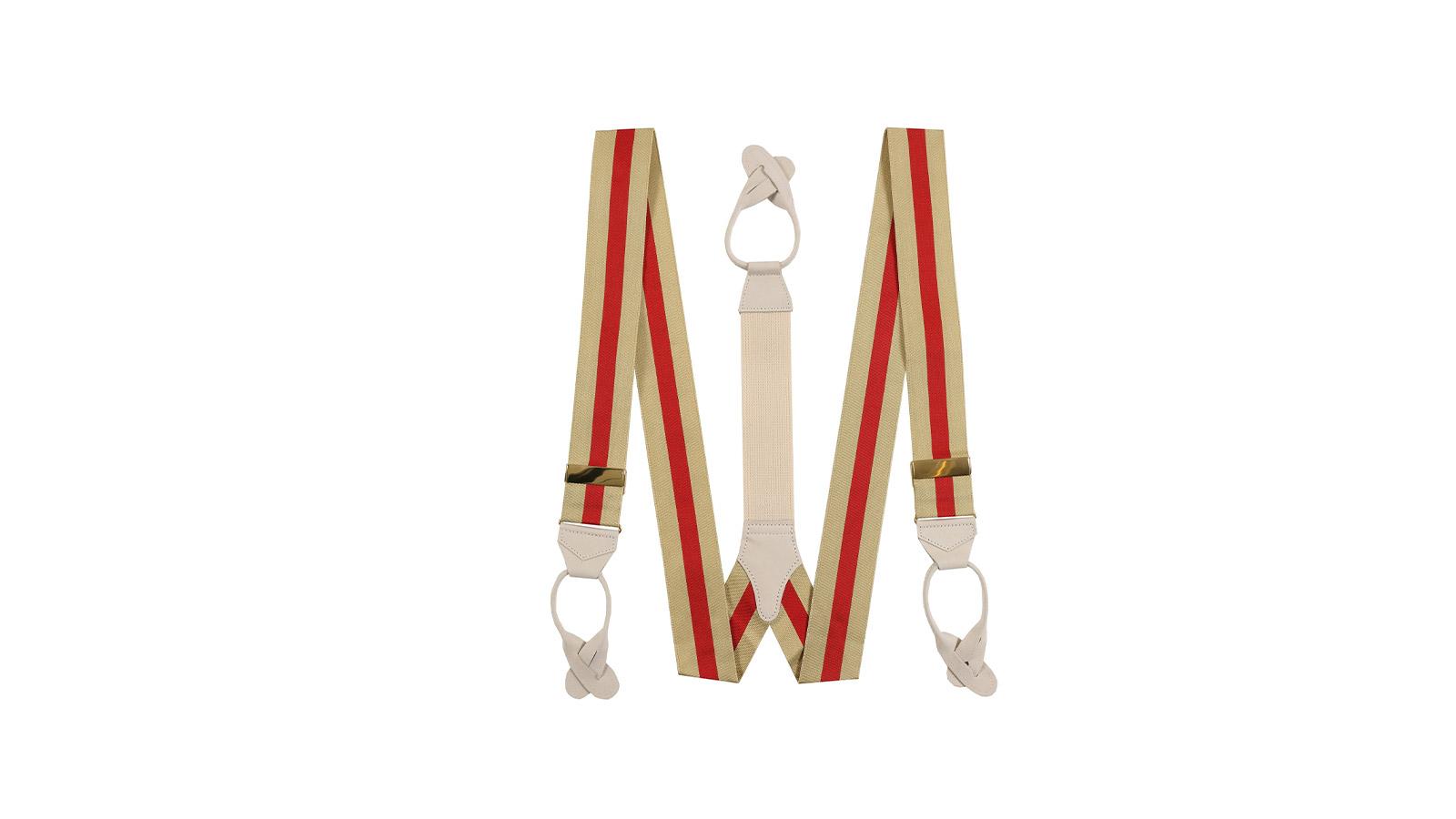 Beige & Red Striped Suspenders - slider image