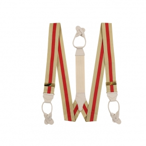 Beige & Red Striped Suspenders - thumbnail image 1