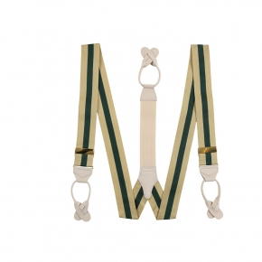 Beige & Green Striped Suspenders - thumbnail image 1