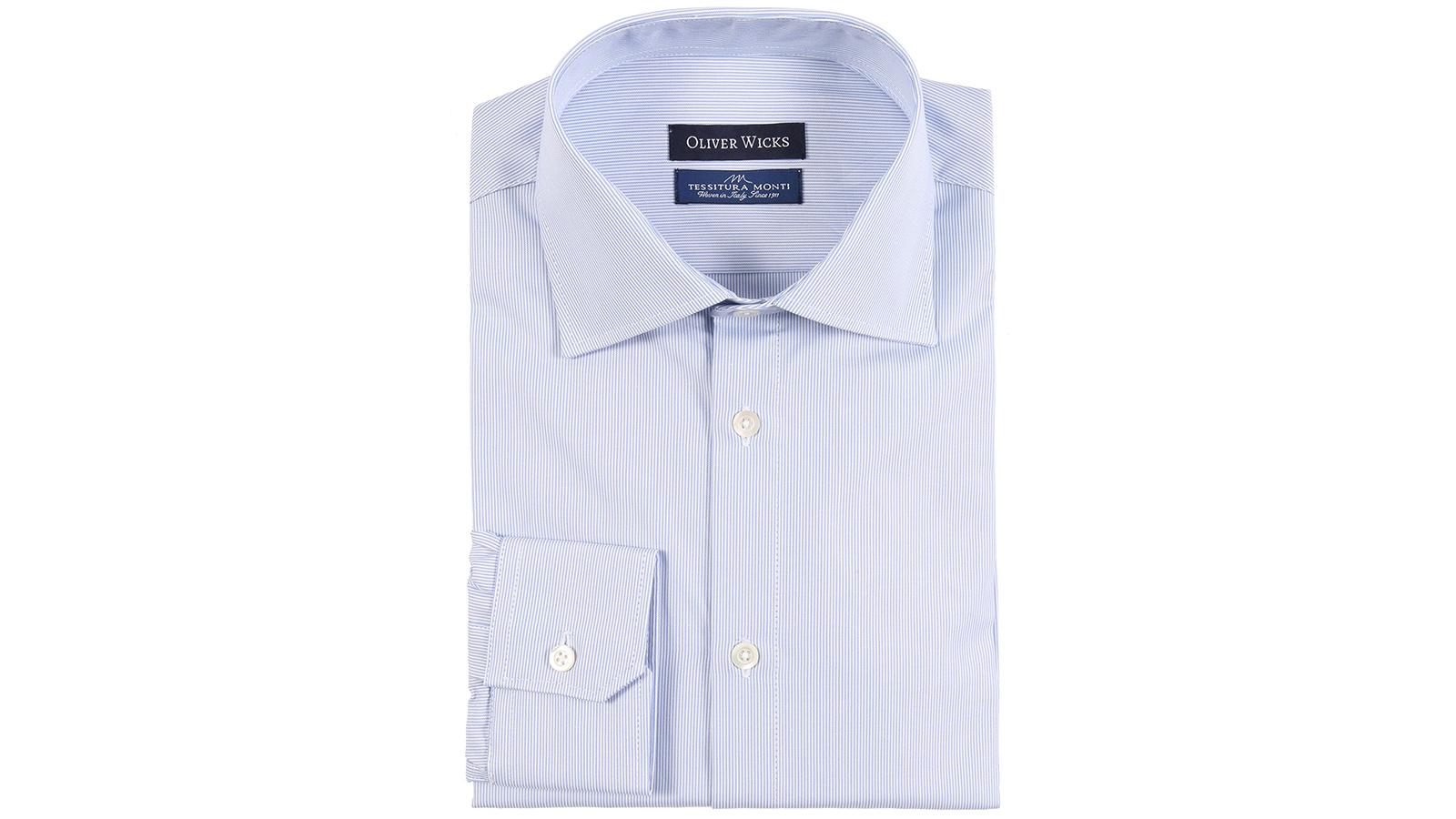 Light Blue Striped Micropattern Broadcloth Cotton Shirt - slider image