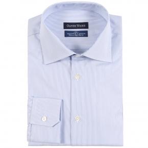Light Blue Striped Micropattern Broadcloth Cotton Shirt - thumbnail image 1