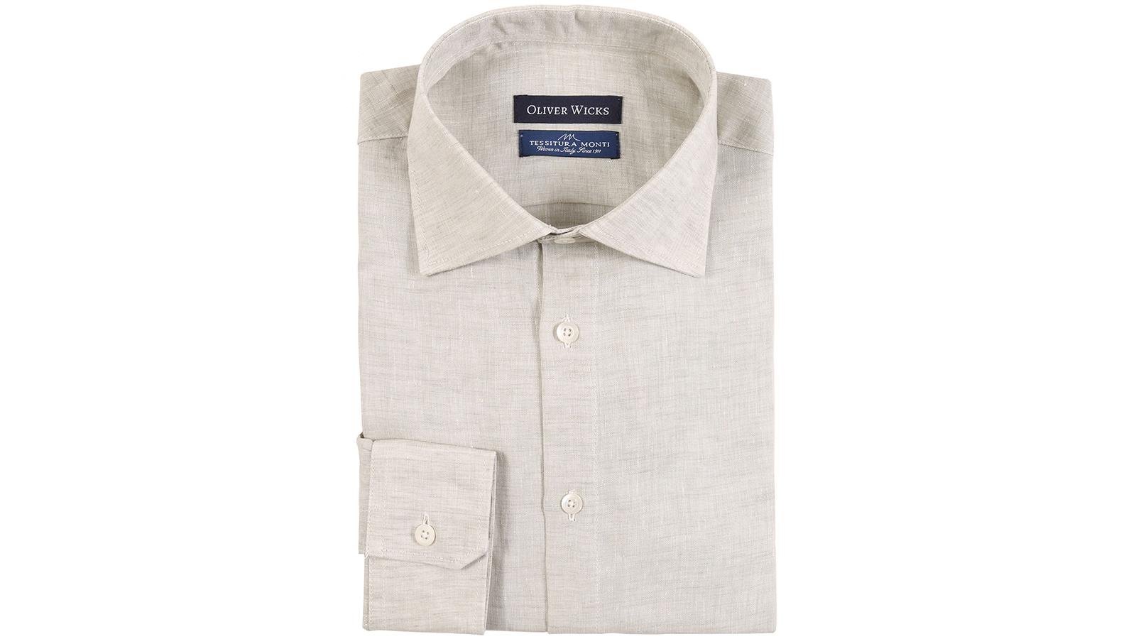 Khaki Green Linen Shirt - slider image