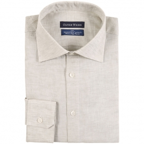 Khaki Green Linen Shirt - thumbnail image 1