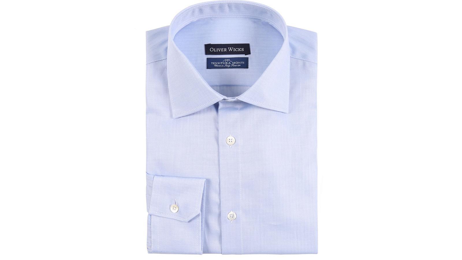 Light Blue Herringbone Cotton Shirt - slider image