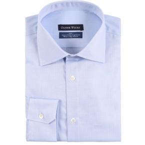 Light Blue Herringbone Cotton Shirt - thumbnail image 1