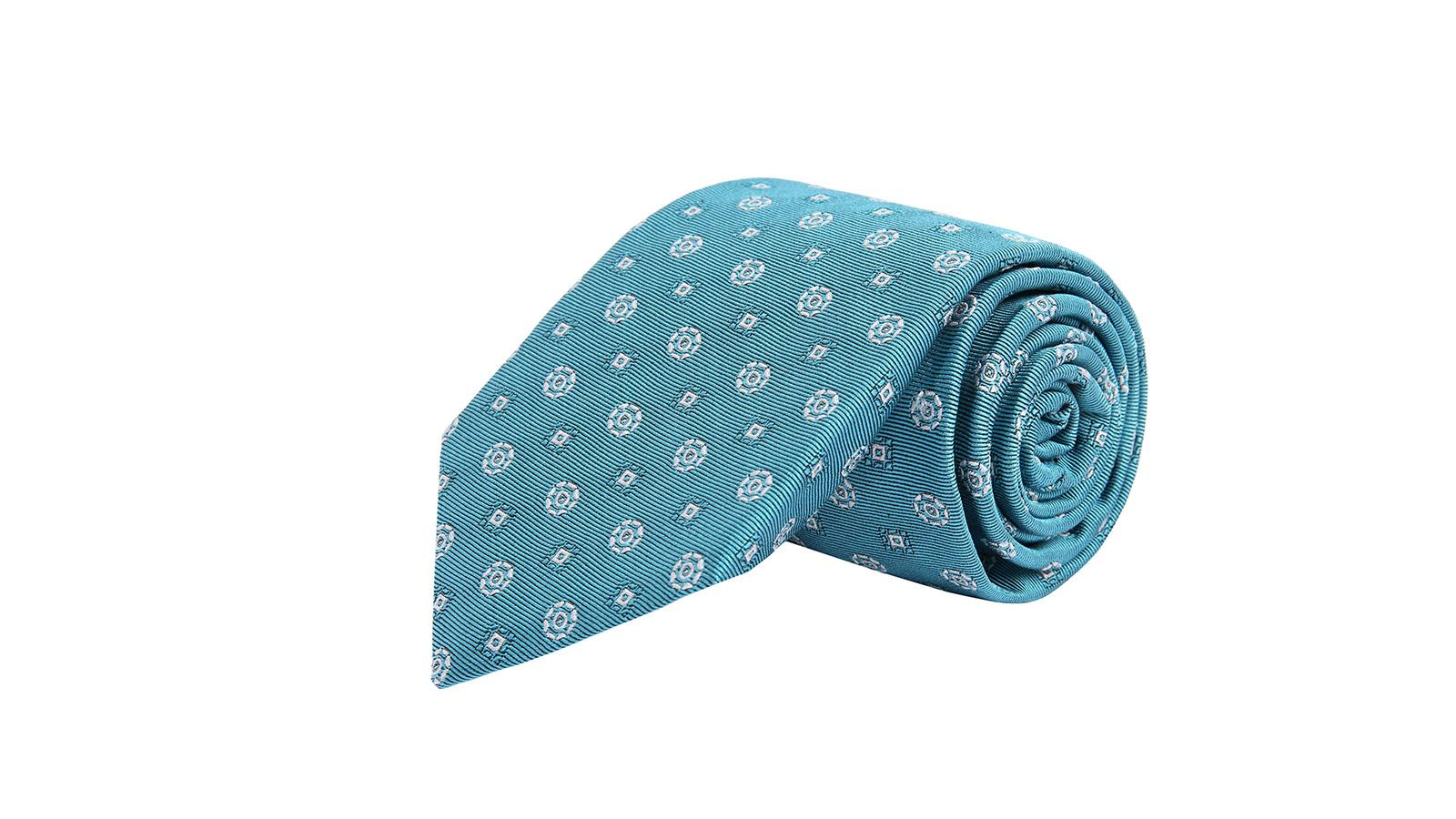 White Shapes Sky Blue Silk Tie - slider image