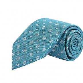 White Shapes Sky Blue Silk Tie - thumbnail image 1