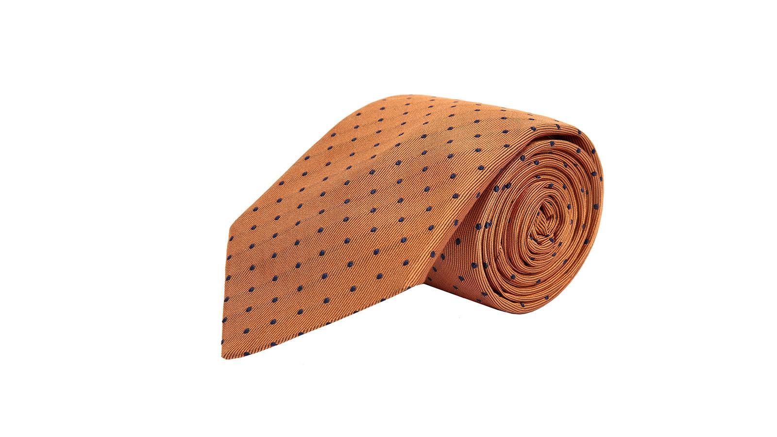 Copper Dotted Silk Tie - slider image