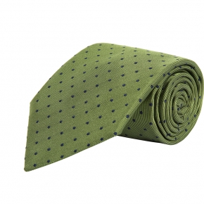 Green Dotted Silk Tie - thumbnail image 1