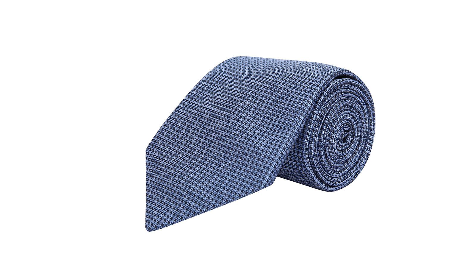 Light Blue Hopsack Silk Tie - slider image
