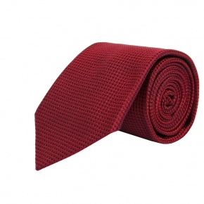 Red Hopsack Silk Tie - thumbnail image 1