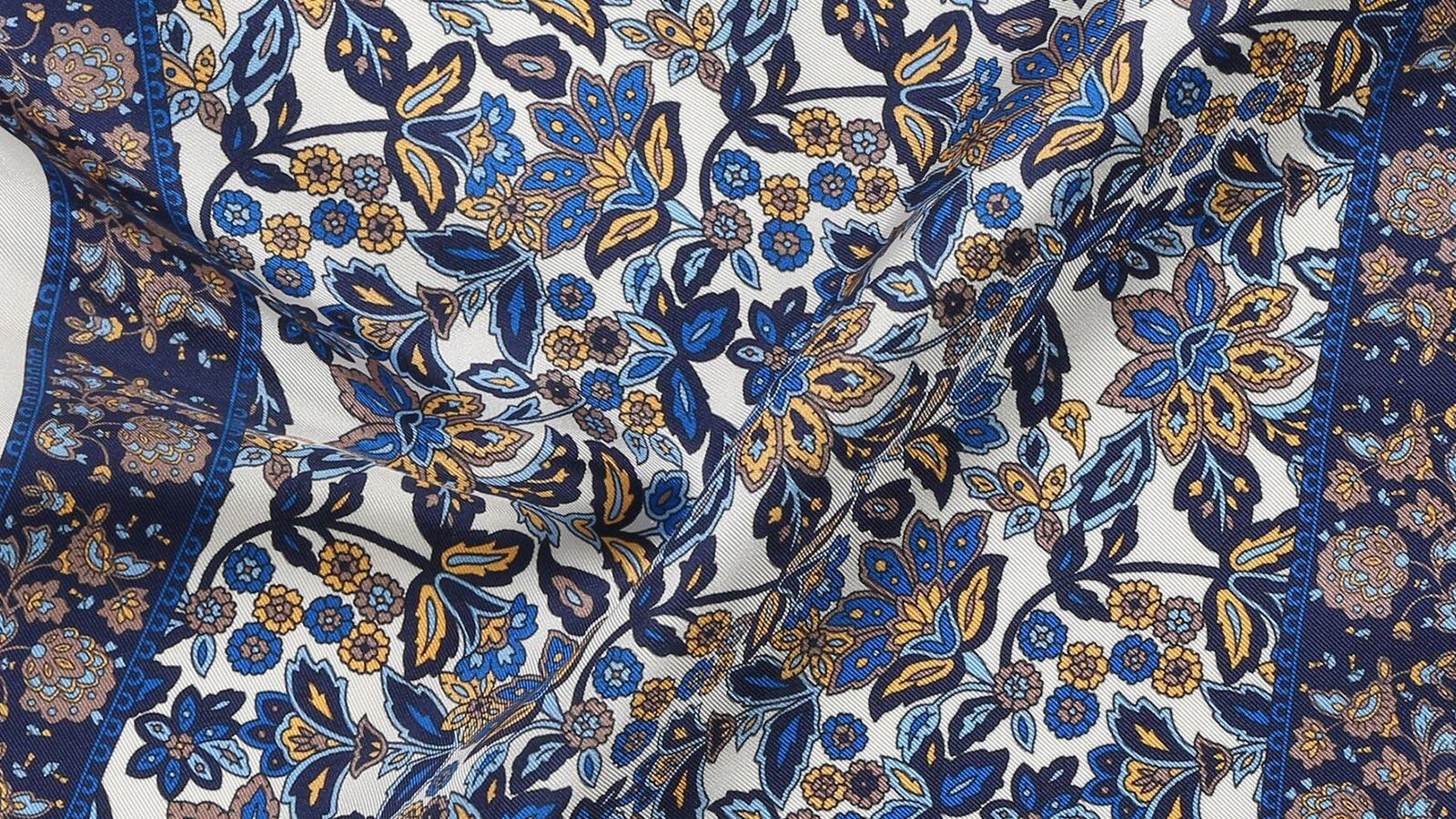 White & Navy Floral Italian 100% Silk Pocket Square - slider image 1