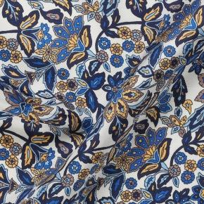 White & Navy Floral Italian 100% Silk Pocket Square - thumbnail image 2