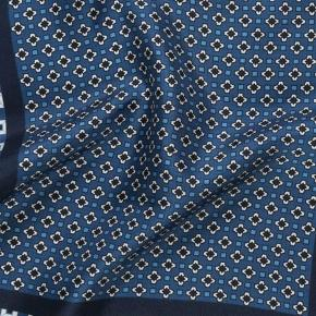 Navy & White Italian 100% Silk Pocket Square - thumbnail image 1