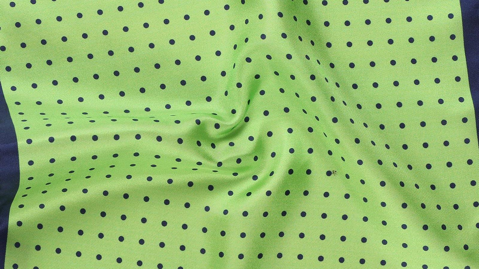 Green & Navy Dotted Italian 100% Silk Pocket Square - slider image
