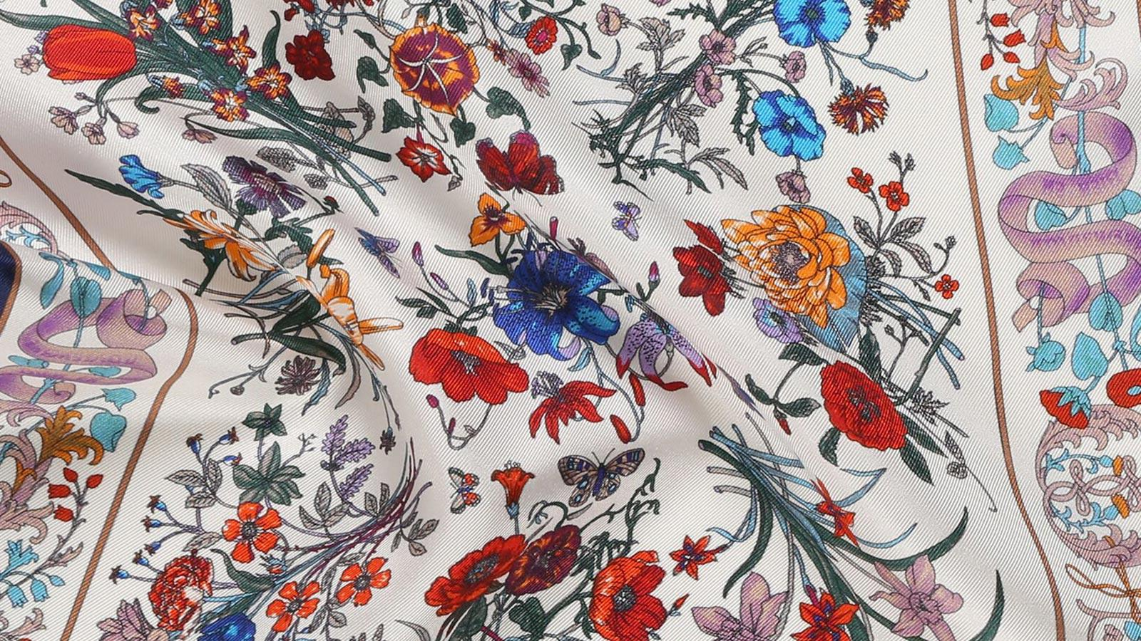 White Floral Vintage Italian 100% Silk Pocket Square - slider image