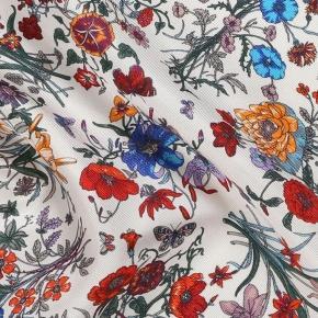 White Floral Vintage Italian 100% Silk Pocket Square - thumbnail image 1