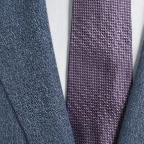 Navy Blue Melange Wool Silk & Linen Blazer - thumbnail image 2