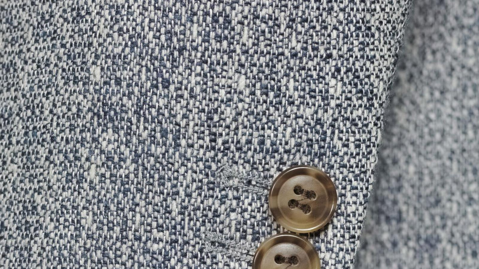 White & Navy Blue Melange Wool Silk & Linen Blazer - slider image 1