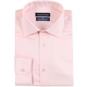 Melon Pink Two-Ply Cotton Twill Shirt - thumbnail image 1