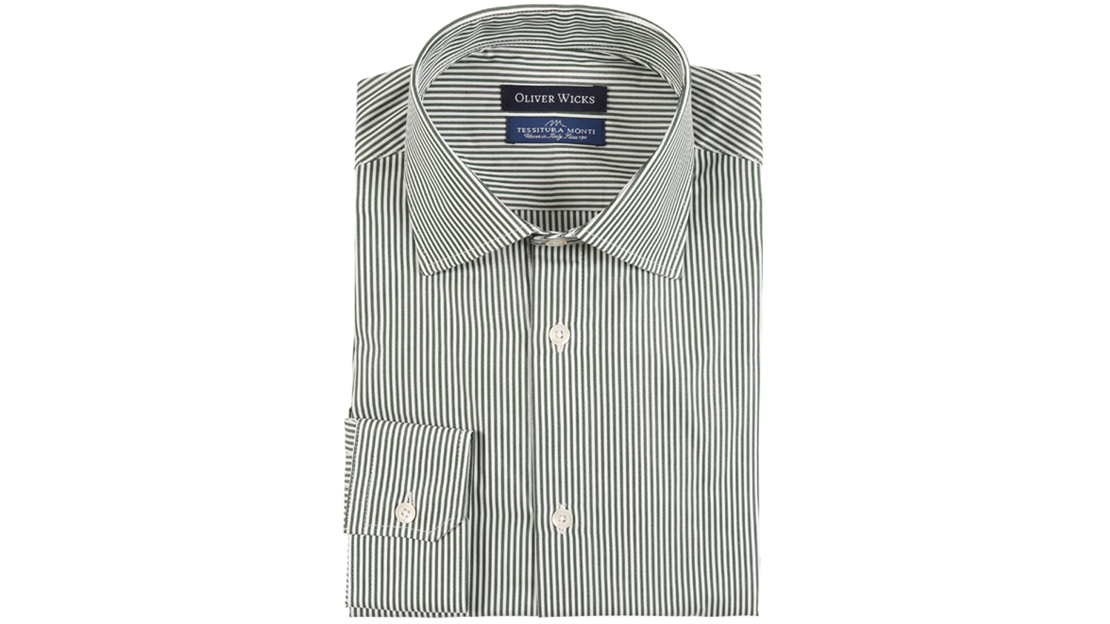 Green Striped Two-Ply Pinpoint Cotton Shirt - slider image