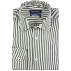 Green Striped Two-Ply Pinpoint Cotton Shirt - thumbnail image 1