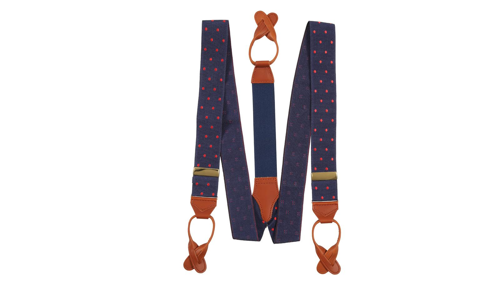 Navy & Red Polka Dot Suspenders - slider image