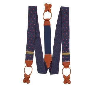 Navy & Red Polka Dot Suspenders - thumbnail image 1