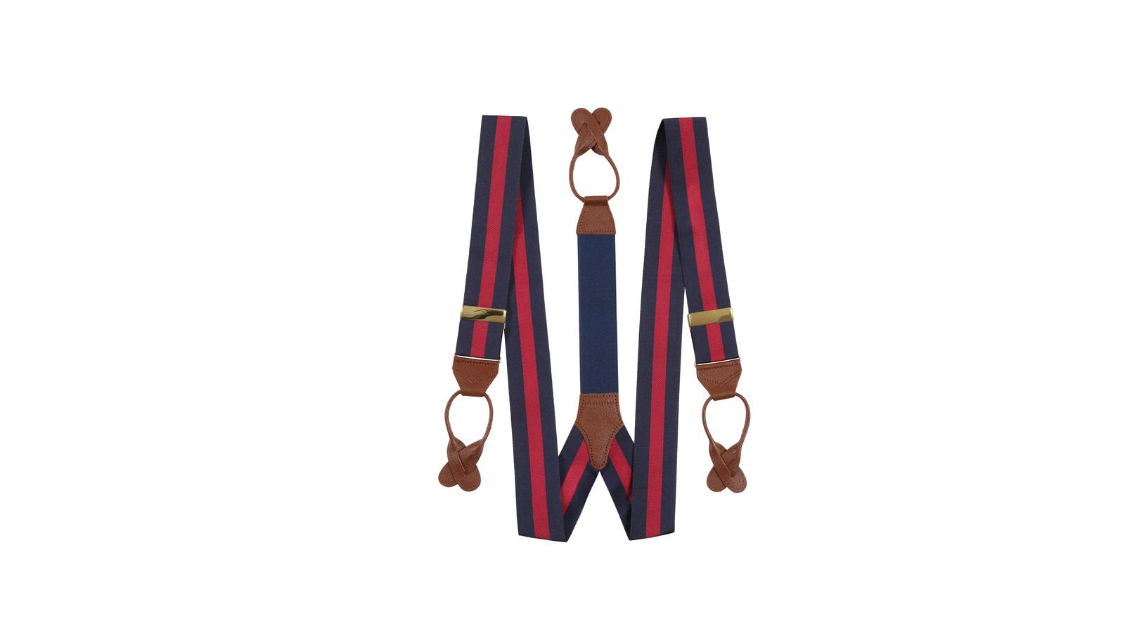 Navy & Red Striped Suspenders - slider image