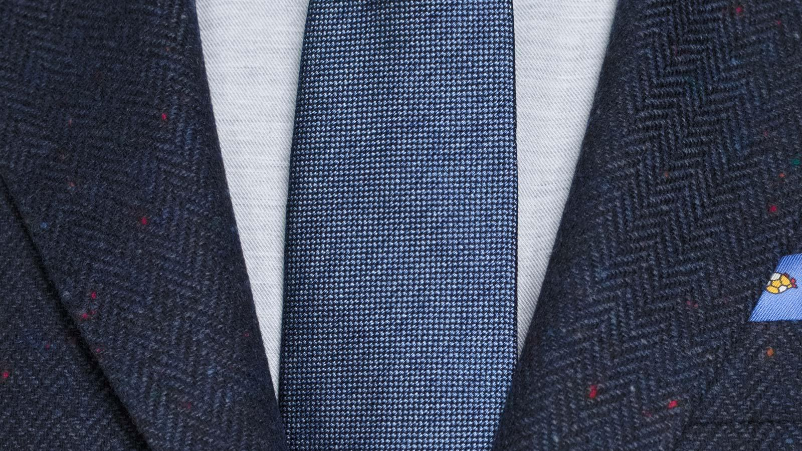 Navy Donegal Herringbone Tweed Blazer - slider image 1