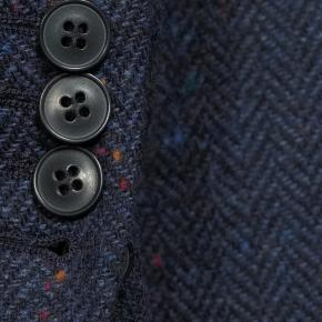 Navy Donegal Herringbone Tweed Blazer - thumbnail image 2