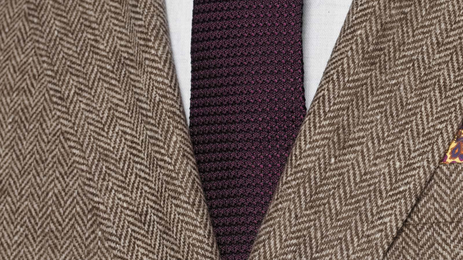 Brown Herringbone Natural Wool Tweed Blazer - slider image 1