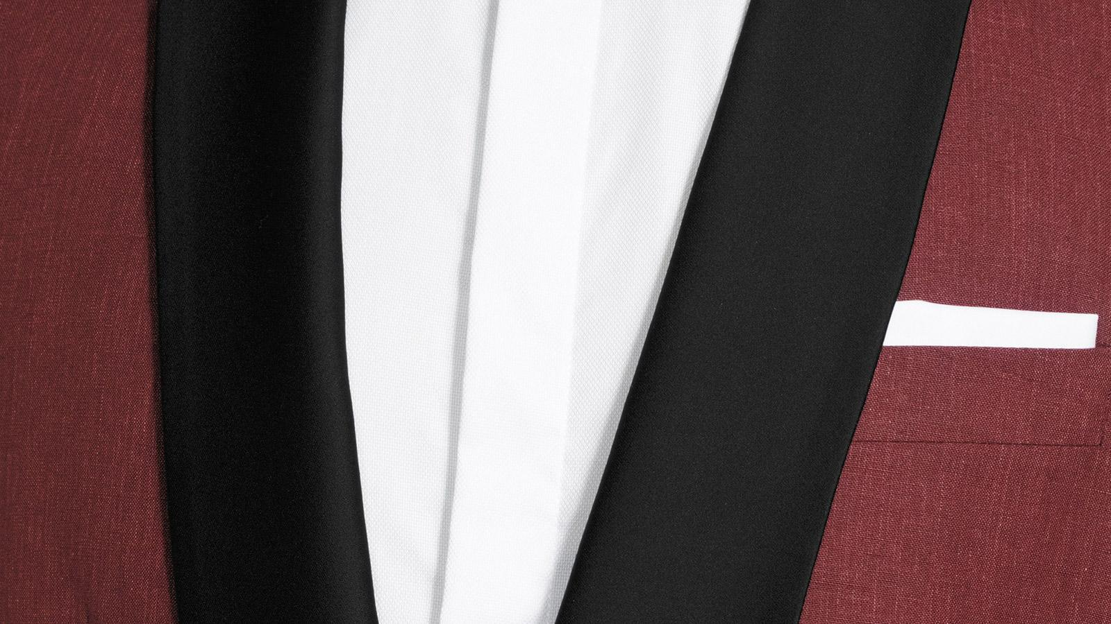 Intense Ruby Red Linen Tuxedo - slider image 1
