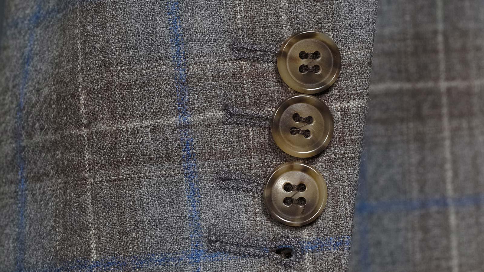 Blue Check Warm Grey Natural Stretch Blazer - slider image 1