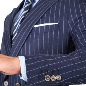 Blue Chalkstripe Wool Flannel Suit - thumbnail image 2