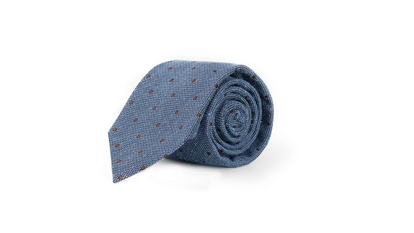Light Blue Dotted Bourette Silk Tie - slider image