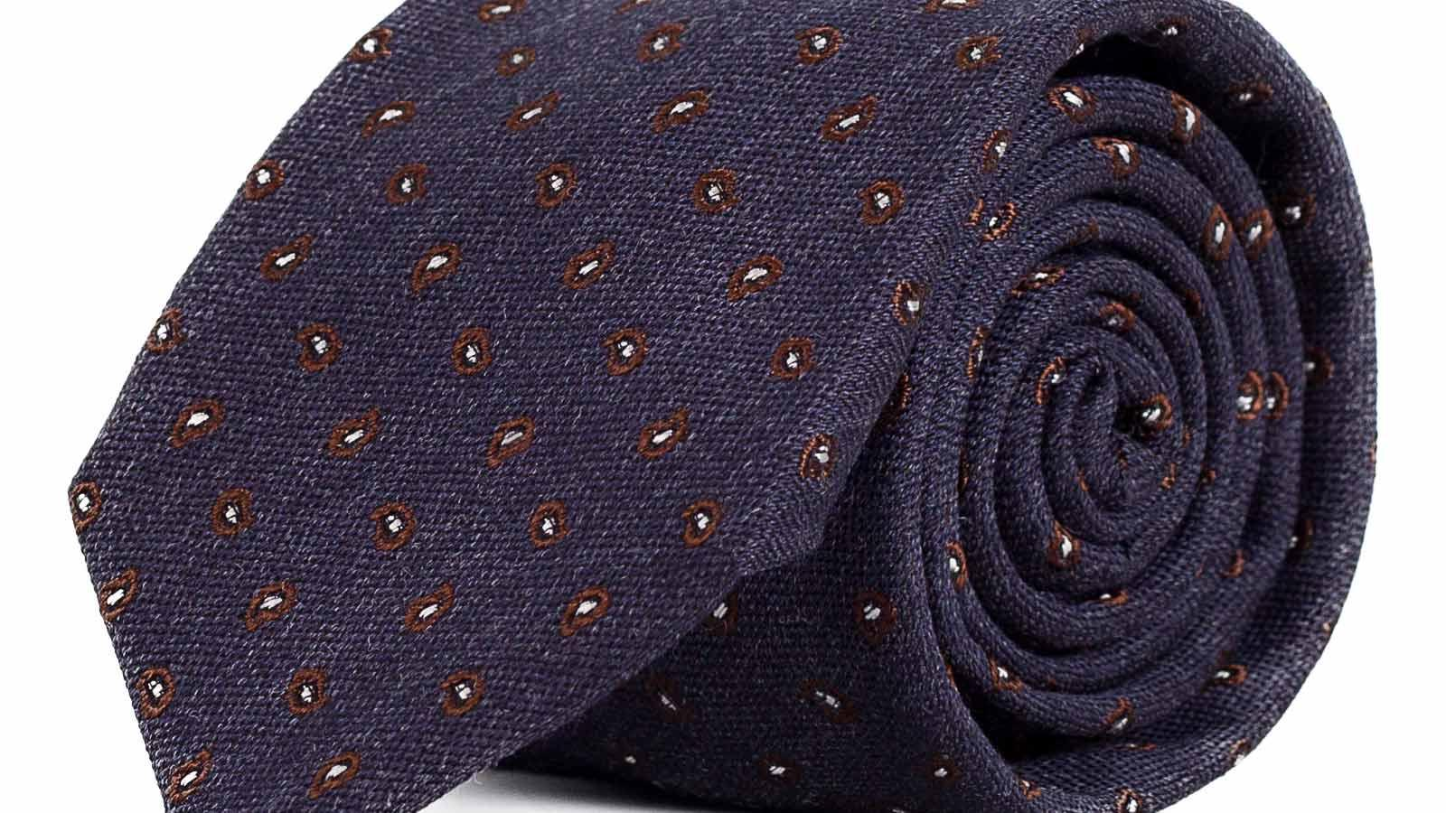 Blue & Brown Paisley Wool & Silk Tie - slider image